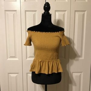 AE Yellow Off the Shoulder Top
